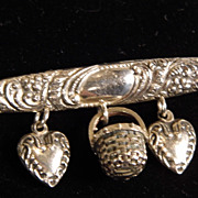 SALE Solid Sterling Silver Repousse Bar Pin with Solid Puffy Hearts & Basket Dangles