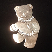 Mexican Sterling Silver Teddy Bear Brooch