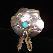 Sterling Silver Native American Style Basket Pin with Dangling Feathers & Turquoise Cabochon