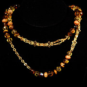 "40"" Goldtone & Natural Hand Knotted Faceted Beads in Earthtone Colors"