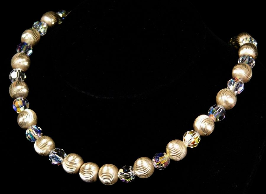 Sparkling Sterling Silver Ribbed Bead and Crystal Necklace 18""