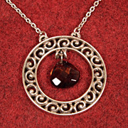 Brighton Silvertone Circle Necklace with Brown Pear Shaped Crystal at Center 17-19""