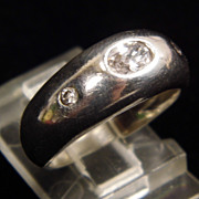 Sterling Silver Gypsy Ring with Clear Stones size 6.25