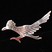 Native American Roadrunner Sterling Silver Brooch