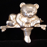 Sterling Silver Bear on a Branch Brooch