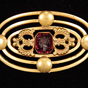 Brass Maroon Red Glass Intaglio Brooch