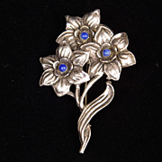 Sterling Silver Bouquet with Blue Stone Eyes (Centers) Brooch