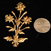 1985 Metropolitan Museum of Art Bold Goldtone Daffodil Brooch