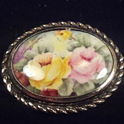 Sam Martino V Cox Pink & Yellow Rose Porcelain Painting Sterling Silver Brooch
