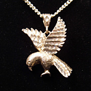 Unisex Sterling Silver Eagle Pendant on 20.5 inch Curb Chain Necklace