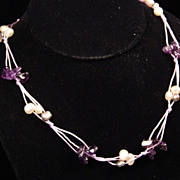 Amethyst & Freshwater Pearl Necklace on Purple Cord with Heavy Sterling Silver Catch with 1 3/