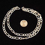 "19 Gram Italian Sterling Silver Figaro 1/4"" Wide 20 inch Long Necklace"