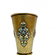 A Russian enamel silver beaker
