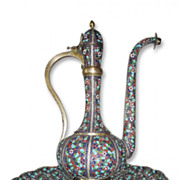 A persian enamelled silver ewer & basin