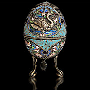 Russian Silver Figueral Jeweled footed Egg Box