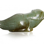 A Pale Green Nephrite Owl Jade Belt Hook , 18th Century