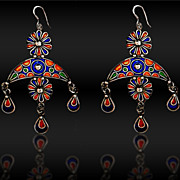 An extremely fine pair of enamel earrings  Late19th Century