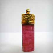 A Seljuke Kufic Inscribed Pink-Tourmaline Pendant 12th Century