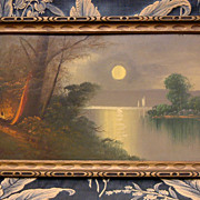 "Captivating Antique Painting ""Full Moon on the River"" Oil on Board Painting C. 1910"
