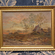 *Formidable!* French Impressionist Oil Painting C. 1890 Signed E H Sunset On The French Countr