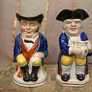 Pair of Staffordshire Character Toby Mugs