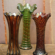 Three Carnival Glass Vases- Imperial Iridescent Green Ripple & Northwood Quilted Amethyst