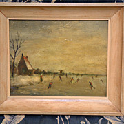 "SALE PENDING Sweet 1940's Oil Painting ""Ice Skating"" Signed William Beek In Original"
