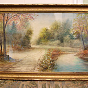Precious Pennsylvania Dutch Watercolor/Pastel Painting C. 1915 In Antique Frame-Perfect Condit
