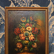 SALE PENDING Fine Antique Still Life Oil Painting-Flowers In Vase C. 1900 Signed Peneri