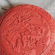 Carved Cinnabar Lacquer Circular Lidded Box