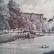 19th Century Engraving of Vista del Palacio de Madrid de las Orillas del Manzanares