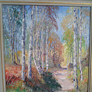 Impressionistic Style Oil Painting on Canvas of a Trail in a Birch Forest