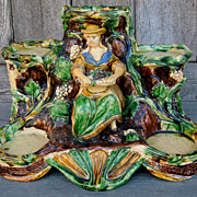 An early piece of na�ve French Majolica, Plant, Pot Stand.  Circa 1850.