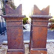 Pair of Reclaimed, English, Castle Style Chimney Pots.