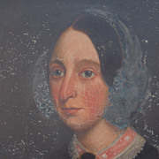 Portrait of Ammelia Jackson, A charming portrait of a young lady. Oil on board, in original sc