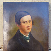 Portrait, Oil on Canvas of a Young Gentleman. Circa 1850 � 1860.