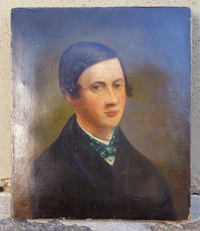 Portrait, Oil on Canvas of a Young Gentleman. Circa 1850 – 1860.