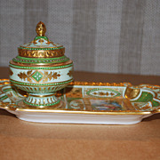 SALE PENDING Ink well.  Antique Vienna style porcelain.  Hand Painted.  Late 19th cent.