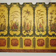 Chinoiserie decorated five panel floor screen