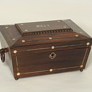 English regency inlaid sewing box
