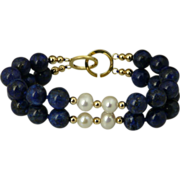 Elegant Lapis, Pearl and 14KT Gold-Filled Double Strand Bracelet
