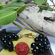 Striking Onyx,  Cinnabar and 14KT Gold-Filled Bead Asian Bracelet