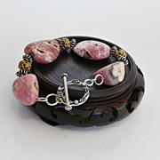 Rhodochrosite,  Brass,  and  Sterling Silver  Bracelet