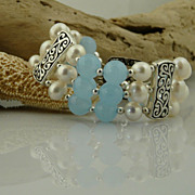 Lovely Aquamarine, Cultured Pearl and Sterling Silver Accented Triple Strand Bracelet