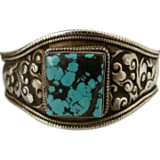 Unisex-Nepalese Hand Chased Large Sterling Silver and Turquoise Cuff Bracelet