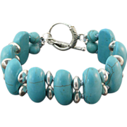 Beautiful Stabilized Turquoise and Sterling Silver Bracelet