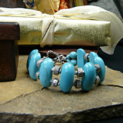 Stabilized Blue Turquoise and Sterling Silver Beaded Bracelet