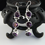Handmade Long Diamond Cut Amethyst and Sterling Silver Earrings