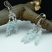 Aquamarine Nugget and Sterling Silver  Earrings