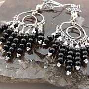 Go Everywhere, Long, Onyx and Sterling Silver Chandelier Earrings